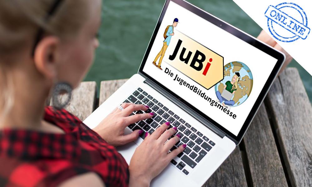 Ein Laptop mit dem Logo der JugendBildungsmesse auf dem Bildschirm