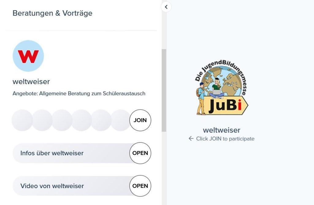 Screenshot der Oberfläche der Jubi-Online