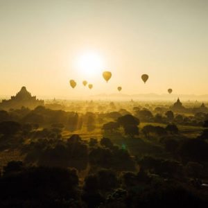 Heißluftballons schweben über Bäumen