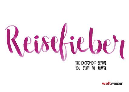 Postkarte mit Schriftzug Reisefieber Handlettering