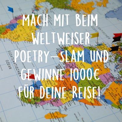 weltweiser Poetry-Slam vor einer Weltkarte