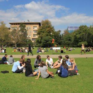 Gruppe von jungen Erwachsenen in einem Sitzkreis auf einer Wiese, im Hintergrund weitere Kleingruppen
